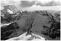 Aerial view of mountain with steep icy faces. Wrangell-St Elias National Park ( black and white)