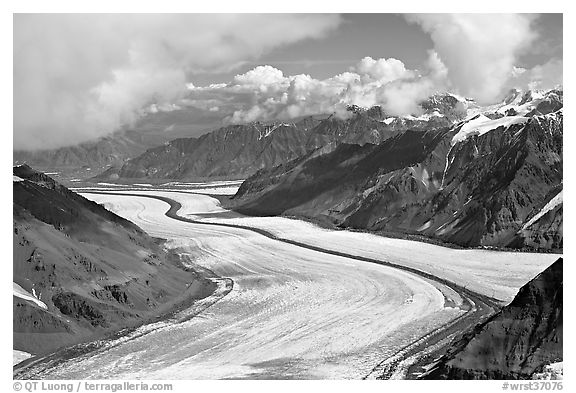 Aerial view of Barnard Glacier and median moraine. Wrangell-St Elias National Park (black and white)