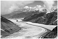 Aerial view of Barnard Glacier and median moraine. Wrangell-St Elias National Park, Alaska, USA. (black and white)