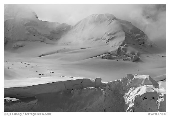 Aerial view of seracs and snowy peak, University Range. Wrangell-St Elias National Park (black and white)