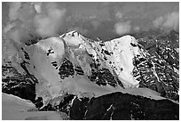 Aerial view of peak with seracs and hanging glaciers, University Range. Wrangell-St Elias National Park ( black and white)