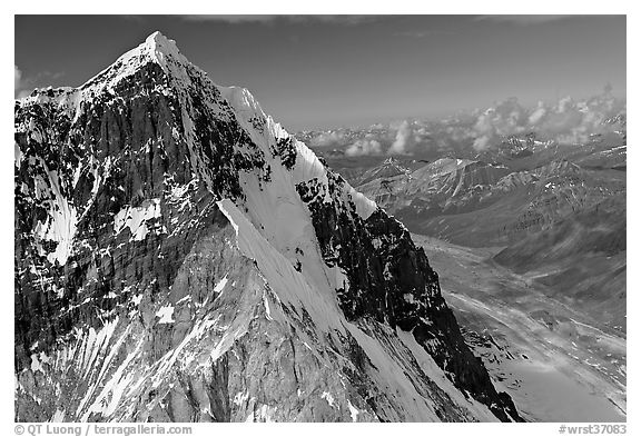 Aerial view of ice-covered peak, University Range. Wrangell-St Elias National Park (black and white)