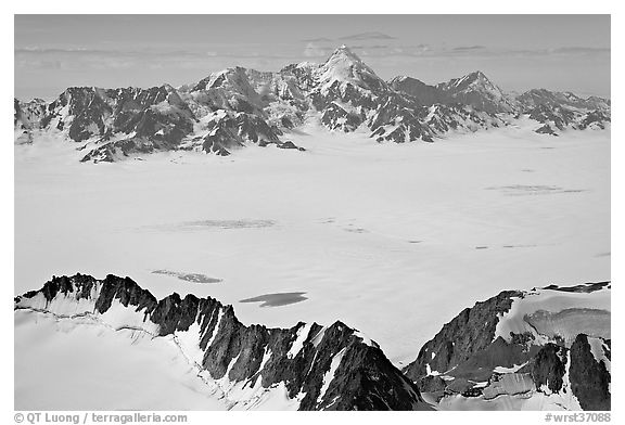 Aerial view of snow-covered Bagley Field. Wrangell-St Elias National Park (black and white)