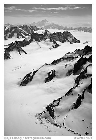 Aerial view of mountains with Mt St Elias in background. Wrangell-St Elias National Park (black and white)