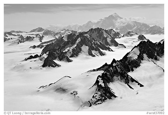 Aerial view of Jefferies Glacier and Mount St Elias. Wrangell-St Elias National Park (black and white)