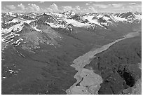 Aerial view of Granite Creek. Wrangell-St Elias National Park, Alaska, USA. (black and white)