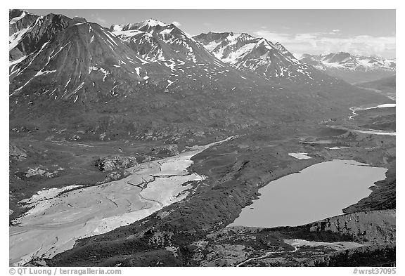 Aerial view of Ross Geen Lake and Granite Range. Wrangell-St Elias National Park (black and white)