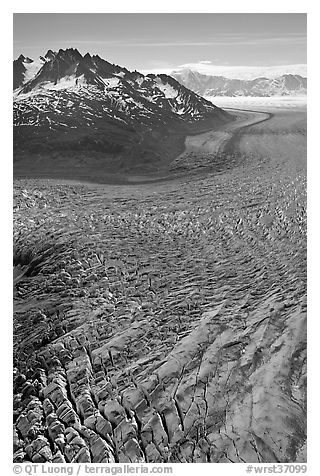 Aerial view of crevasses on Tana Glacier. Wrangell-St Elias National Park (black and white)