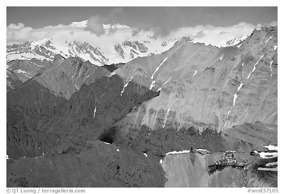 Aerial view of Bonanza Mine on Bonanza Ridge. Wrangell-St Elias National Park (black and white)