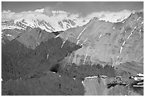 Aerial view of Bonanza Mine on Bonanza Ridge. Wrangell-St Elias National Park ( black and white)