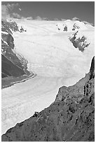 Aerial view of Erie Mine and Root Glacier. Wrangell-St Elias National Park ( black and white)