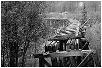 Gilahina trestle, constructed in eight winter days. Wrangell-St Elias National Park ( black and white)