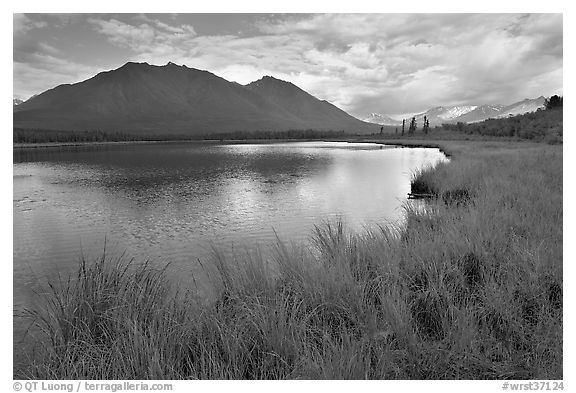 Clearing storm on lake. Wrangell-St Elias National Park (black and white)