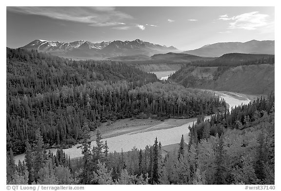 Kuskulana river. Wrangell-St Elias National Park (black and white)