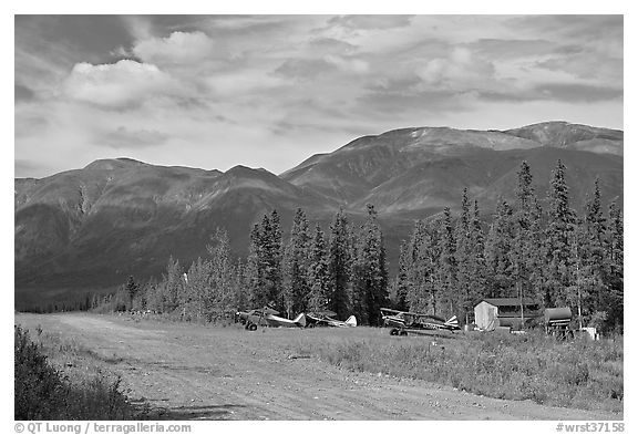 Airstrip and bush planes. Wrangell-St Elias National Park (black and white)