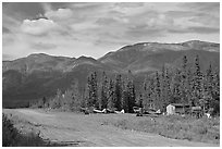 Airstrip and bush planes. Wrangell-St Elias National Park ( black and white)