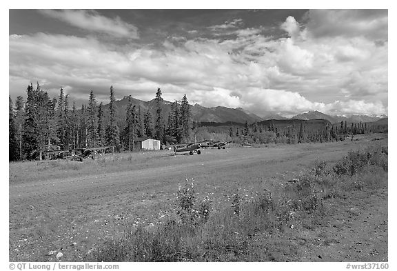 Airstrip at the end of Nabesna Road. Wrangell-St Elias National Park (black and white)