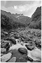 Stream, Skookum Volcano. Wrangell-St Elias National Park ( black and white)