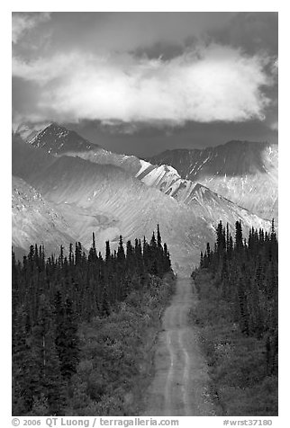 Road leading to mountains and clould lit by sunset light. Wrangell-St Elias National Park (black and white)