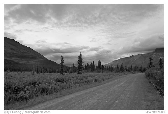 Nabena road at sunset. Wrangell-St Elias National Park (black and white)