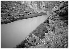 Rio Grande in Santa Elena Canyon. Big Bend National Park, Texas, USA. (black and white)