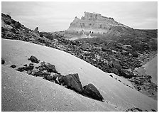 Low white mounds of compacted volcanic ash near Tuff Canyon. Big Bend National Park, Texas, USA. (black and white)