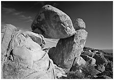 Balanced rock in Grapevine mountains. Big Bend National Park, Texas, USA. (black and white)