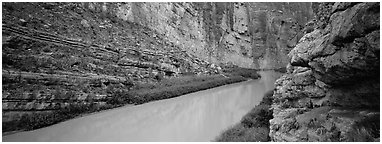 Rio Grande River flowing through Santa Elena Canyon. Big Bend National Park (Panoramic black and white)