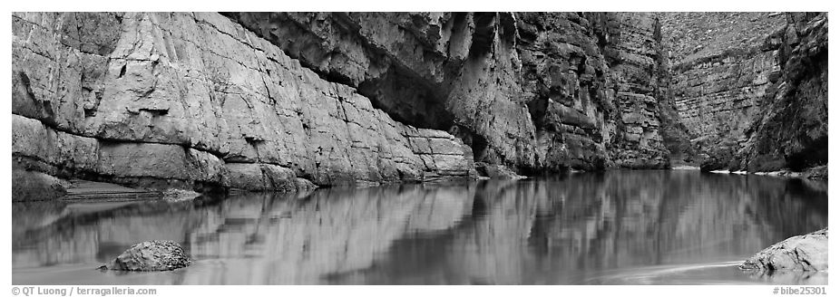 Canyon walls reflected in Rio Grande River. Big Bend National Park (black and white)