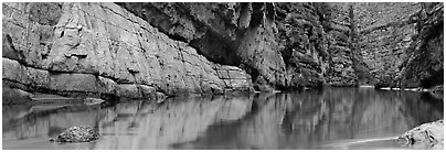 Canyon walls reflected in Rio Grande River. Big Bend National Park (Panoramic black and white)