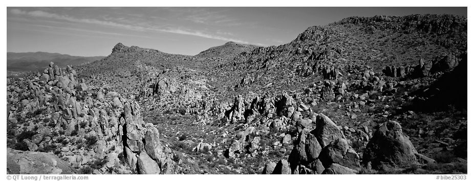 Valley strewn with rock boulders, Grapevine Mountains. Big Bend National Park (black and white)