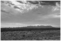 Dry riverbed, distant Chisos Mountains, and clouds. Big Bend National Park ( black and white)
