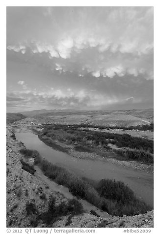 Rio Grande River riverbend and clouds, sunset. Big Bend National Park (black and white)