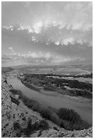Rio Grande River riverbend and clouds, sunset. Big Bend National Park, Texas, USA. (black and white)