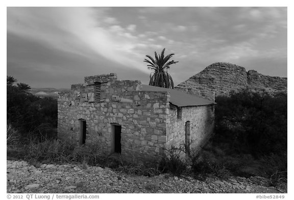 Historic bath house at dusk. Big Bend National Park (black and white)