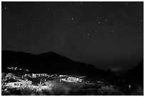 Chisos Mountains Lodge and stars at night. Big Bend National Park, Texas, USA. (black and white)