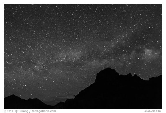 Starry sky and Milky Way above Chisos Mountains. Big Bend National Park (black and white)