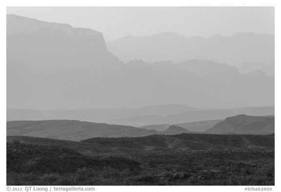 Ridges of Sierra Del Carmen mountains, morning. Big Bend National Park (black and white)