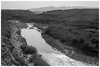 Rio Grande River and hot springs. Big Bend National Park, Texas, USA. (black and white)