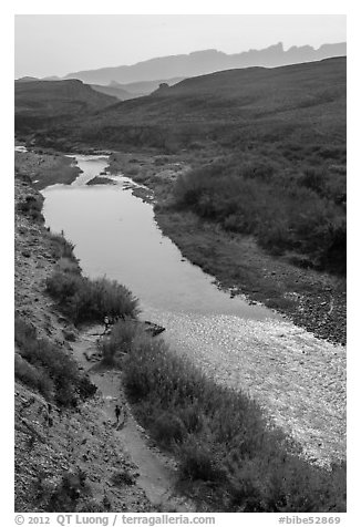 View from above of Rio Grande and hikers heading towards hot springs. Big Bend National Park (black and white)