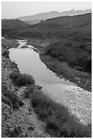 View from above of Rio Grande and hikers heading towards hot springs. Big Bend National Park ( black and white)