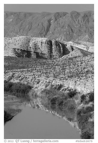 Rio Grande River and Sierra de San Vicente. Big Bend National Park (black and white)