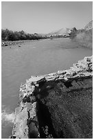 Hot Springs next to Rio Grande River. Big Bend National Park ( black and white)