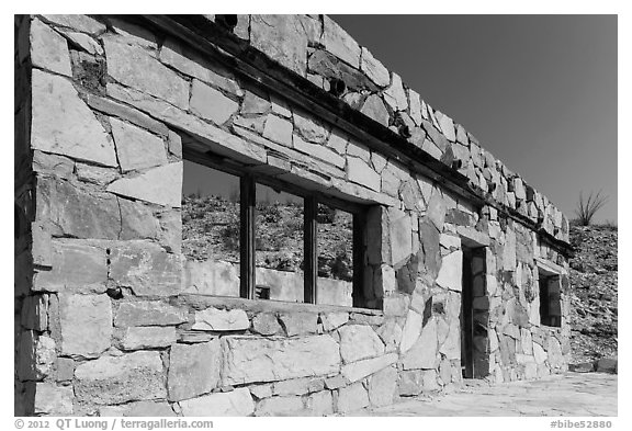 Ruins of historic bathhouse. Big Bend National Park (black and white)