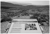 Sierra Del Carmen landscape and interpretative sign. Big Bend National Park, Texas, USA. (black and white)