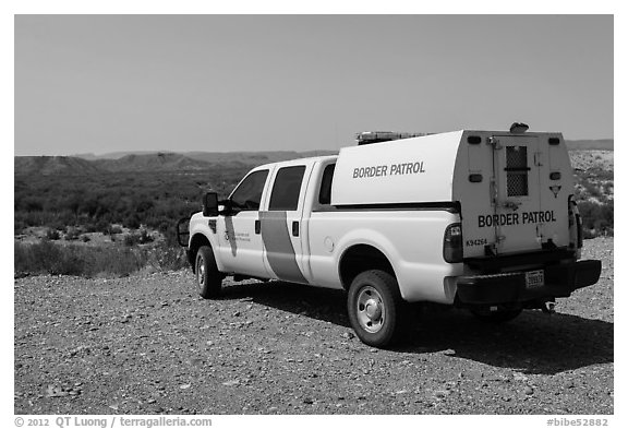 Border Patrol truck. Big Bend National Park (black and white)