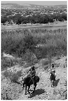 Mexican horsemen from Boquillas Village. Big Bend National Park ( black and white)