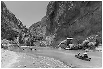Paddling the Rio Grande in Boquillas Canyon. Big Bend National Park ( black and white)