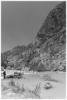 Man standing in Boquillas Canyon. Big Bend National Park, Texas, USA. (black and white)
