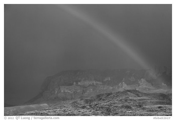 Rainbow over Chisos Mountains. Big Bend National Park (black and white)